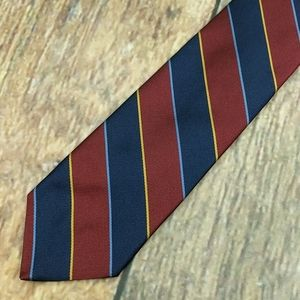 Brooks Brothers Maroon Tie Blue and Gold Stripes